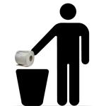 sagoma di uomo che getta della carta igienica