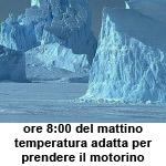 immagine di un ghiacciaio con la scritta ore 8:00 del mattino temperatura adatta per prendere il motorino