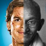 viso per metà di Dexter per metà di Gandhi